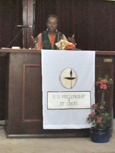 Rev. Qiyamah Rahman delivers the Easter sermon.